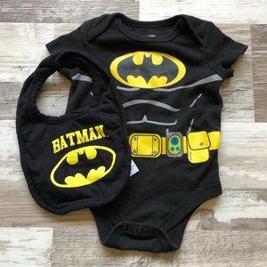 EUC Infant Batman Onesie & Bib Bundle